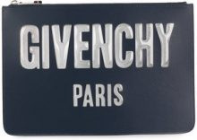 Givenchy - logo zipped pouch - women - Leather - One Size - Blu
