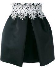 Sara Battaglia - leaf detail front pleat skirt - women - Polyester - 44 - Nero