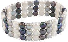 Bella Pearls FINENECKLACEBRACELETANKLET, colore: White, Grey and Black, cod. BSR-20BSW