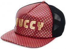Gucci - Cappello da baseball 'Guccy' - women - Lamb Skin/Polyamide/Cotone - M - Rosso