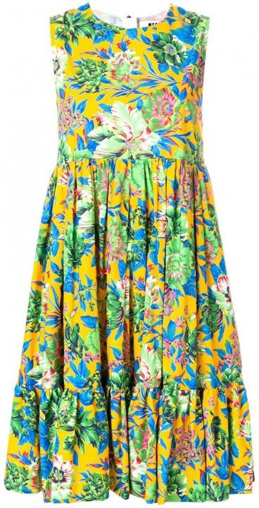 cf8db87b9c4b MSGM - Vestito con stampa floreale - women - Cotone - 42 - giallo ...