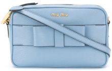 Miu Miu - bow detail camera bag - women - Goat Skin - One Size - Blu