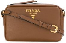 - Prada - logo plaque shoulder bag - women - Leather - Taglia Unica - Marrone