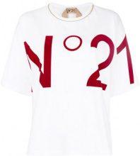 Nº21 - logo print T-shirt - women - Cotone/Brass/glass - 38, 40, 42 - Bianco