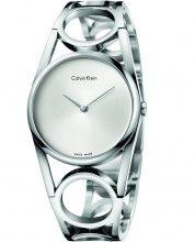 Stroili - Solo tempo Calvin Klein Round con cinturino in acciaio e quadrante silver per Donna