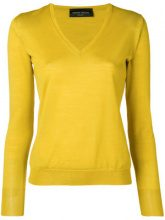 - Roberto Collina - V - neck sweater - women - lana merino - L - di colore giallo