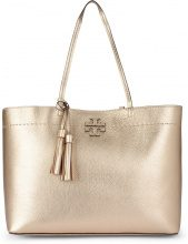 Shopper Tory Burch McGraw in pelle metallizzata oro
