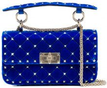 Valentino - Borsa a tracolla 'Rockstud Spike small' - women - Velvet/Leather - One Size - Blu