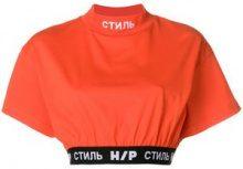 Heron Preston - logo band cropped T-shirt - women - Cotone/Polyester - XS - Giallo & arancio