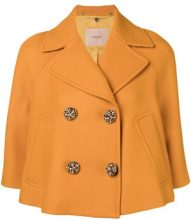 Twin-Set - cropped double breasted jacket - women - Lana Vergine/Polyamide/Polyester/Acetate - 40, 42 - Giallo & arancio