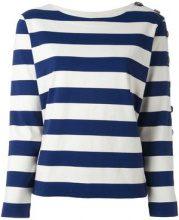 - Mih Jeans - button sleeve breton jumper - women - cotone - XS , L - di colore bianco