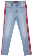 High waist lateral stripe Azzurro lavato