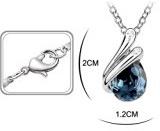 FLORAY Donna o Ragazza Navy Acqua-goccia collana di cristallo del pendente e Stud orecchino Gioielli Parure.