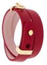 - Salvatore Ferragamo - Gancio cuff bracelet - women - Gold/Leather - Taglia Unica - Rosso
