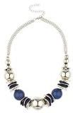 Lux accessori - Collana e orecchini con perle, colore: blu