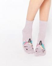 ASOS - Calzini alla caviglia con muso di unicorno glitterato