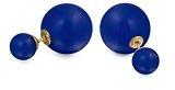 Bling Jewelry Resina blu simulato Giada Orecchini Doppia lega placcata oro