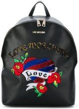 - Love Moschino - sequin embroidered backpack - women - Polyurethane - Taglia Unica - di colore nero