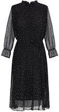 APART Fashion Red-GLENCHECK-Black-Cream-Grey-Glitter-SMOKYBLUE & Fake Leather, Vestito Donna, 48