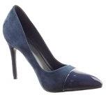 Sopily - Scarpe da Moda scarpe decollete stiletto alla caviglia donna lucide verniciato Tacco Stiletto tacco alto 10.5 CM - Blu