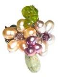 Chic-Net anello Carnelianring-argentato con fiore rosso e arancione fatto di Corniola (diametro di circa 3-5cm) e marrone perline fatti a mano regolabile
