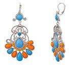 Lux accessori turchese e Arancione Elegante Orecchini Statement