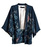 FIVE CATS Women Vintage Japanese Embroidery Blouse Shawl Kimono Cardigan Loose Cover up Tops