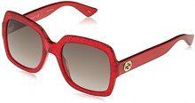 Gucci GG0036S 005, Occhiali da Sole Donna, Rosso (Red/Brown), 54