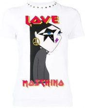 - Love Moschino - T - shirt con logo - women - fibra sintetica/cotone - 40 - di colore bianco