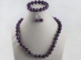TreasureBay eccezionale, 14 mm, colore: naturale, con ametista, orecchini, bracciale e collana, spediti in una lussuosa scatola-regalo