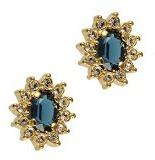 Cristalina-Bracciale Kate placcato oro 18 k con castone ovale, colore: blu Montana-Orecchini a perno