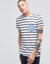 !SOLID - T-shirt girocollo a righe con tasca a contrasto e dettaglio sul braccio