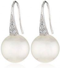 MTS–Orecchini pendenti da donna in argento Sterling 925rodiato conchiglia con zirconi bianchi ES01153