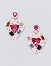 orecchini rosa con gioielli multicolore a forma di cuore