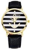 Orologio da polso donna Souarts, nero, a righe, motivo: ancora, con batteria