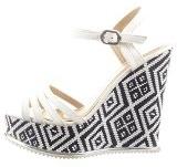 Sopily - Scarpe da Moda sandali scarpe decollete Zeppe alla caviglia donna multi-briglia Tacco zeppa piattaforma 13 CM - Bianco