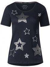 Cecil 312520, T-Shirt Donna, Blau (Deep Blue 30128), L