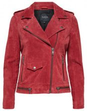 SELECTED Suede - Leather Jacket Women Red
