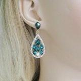 EVER FAITH Gold-tone sacco lacrima ciondola gli Orecchini verde smeraldo di colore di cristallo austriaca N02341-7