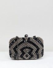 Pochette nera squadrata con decorazione di perline