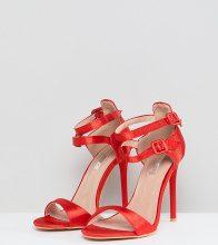 Sandali effetto nudo in raso rossi