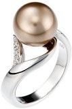 Orphelia ZR-3700/52 Anello da donna in argento 925rodiato con zirconi bianchi dal taglio rotondo e perla di colore marrone, taglia 16,6
