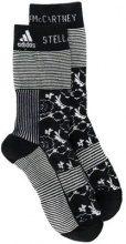 - Adidas By Stella Mccartney - Calzini lunghi a righe e fiori - women - lana/fibra sintetica - M - di colore nero