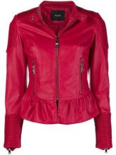 - Twin - Set - peplum biker jacket - women - fibra sintetica - S, XL - di colore rosso