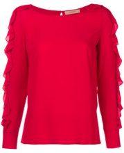 - Twin - Set - ruffled sleeve blouse - women - seta/acetato - 38, 40 - di colore rosso