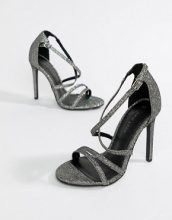 Sandali con tacco e listini metallizzati
