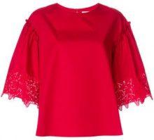- P.A.R.O.S.H. - Blusa con stelle ricamate - women - cotone - XS, S - di colore rosso