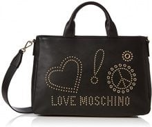 Love Moschino Borsa Calf Pu Nero - Galv.oro Borse a spalla Donna, (Black), 12x26x38 cm (B x H T)