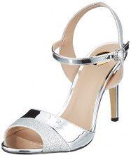 Buffalo 15s90-5 Glitter Metallic PU, Sandali con Cinturino alla Caviglia Donna, Argento (Silver), 41 EU