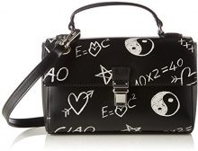Love Moschino Borsa Calf Pu Nero - Pochette da giorno Donna, Schwarz (Black), 15x25x7 cm (L x H D)